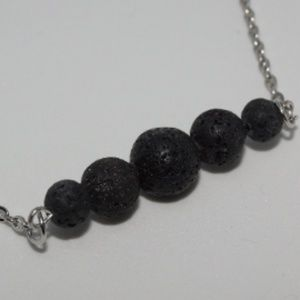 5 Lava Stone aromatherapy necklace with chain